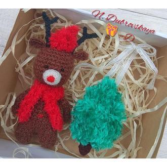 Вязанный, новогодний олень, амигуруми, ёлочные игрушки, handmade
