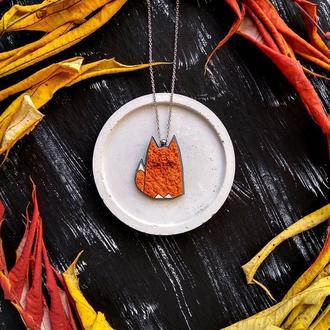 Геометрическая подвеска Лисичка. Дизайнерский кулон Лисенок. Милая полигональная подвеска рыжая Лиса