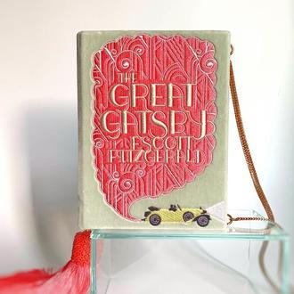 Клатч книга Гетсби книга клатч Великий Гетсби фитцжеральд Вышитый клатч салатовый вечерний сумка