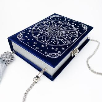 клатч книга Чудеса вселенной все зодиаки книга клатч сумка в виде книги синяя сваровски