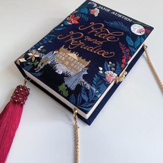 клатч книга Гордостьт и предубеждение клатч бук Сумка в виде книги вечерняя бархатная сумка синяя