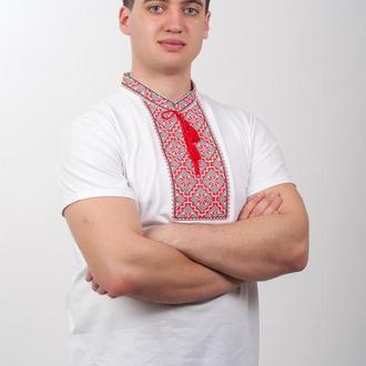 Мужская вышитая футболка белая с красно-черной вышивкой  60