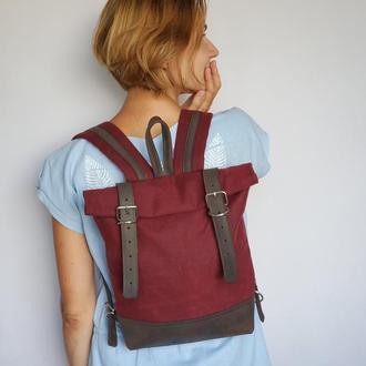 Водонепроницаемый рюкзак для ноутбука из вощеного хлопка и натуральной кожи