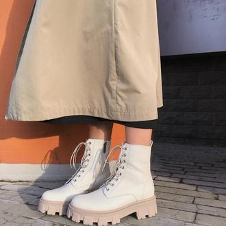 Женские белые кожаные ботинки Pavlina