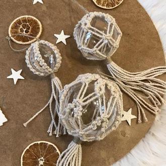 Набор шаров на ёлку, украшение макраме на новый год