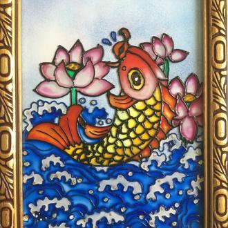 Витражная мини- картина (рыбка))