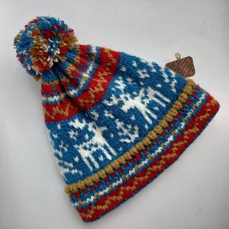 Детская теплая шапка с оленями из виргинской щерсти