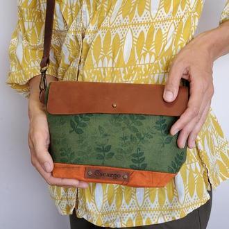 Небольшая женская сумка через плечо с ручным принтом папоротника