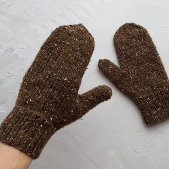 Варежки вязаные коричневые с шерстью, подарочные рукавицы для девушки