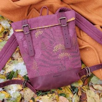 Рюкзак с набойкой из хлопка и натуральной кожи