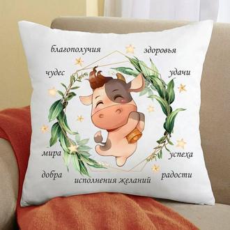 """П000157 Атласна подушка з новорічним принтом """"Бик з побажаннями"""""""