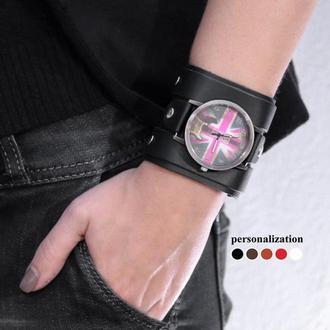Широкий кожаный ремешок для часов, код 5710