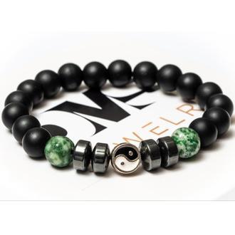 Чоловічий Браслет DMS Jewelry з шунгита, гематиту, агата GREEN AGATE YIN YAN