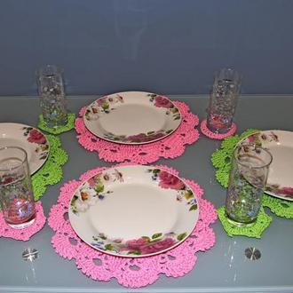 Круглые салфетки для сервировки стола Набор салфеток под тарелку и чашку, стакан
