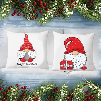 """П000179 Парні декоративні подушки з новорічним принтом """"Гноми"""""""