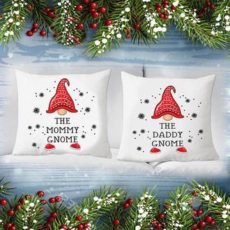 """П000181 Парні декоративні подушки з новорічним принтом """"Гноми: Тато і Мама"""""""