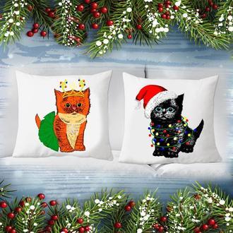 """П000187 Парні декоративні подушки з принтом """"Кішечки: Новий Рік"""""""