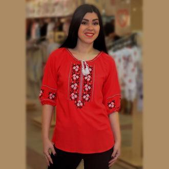 Женская красная блузка с вышивкой  44