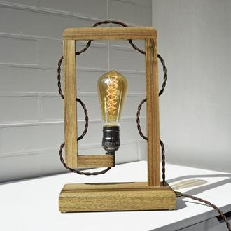 Деревянная настольная лампа Эдисона, Лампа ночник из натурального дерева, лампа в стиле лофт