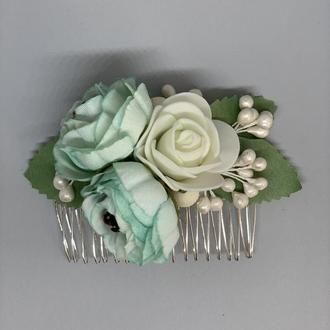 Гребешок для волос нежно-голубого цвета, украшение для невесты