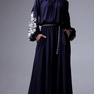 Синее платье с вышивкой Дерево жизни (белая вышивка)