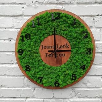 Круглый Часы с мхом на стену