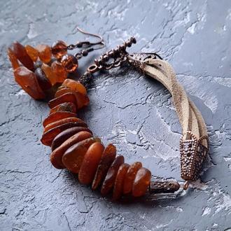 Браслет и серьги из натурального необработанного янтаря