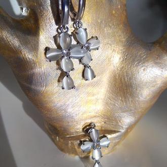 Серьги и кулон с натуральным камнем кошачий глаз, серебро 925