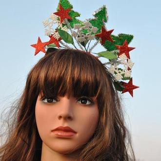 Обруч елочка Новогодний ободок снежинки звезды елочки