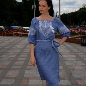 Вышитое платье Твори мир (цвет - джинс)