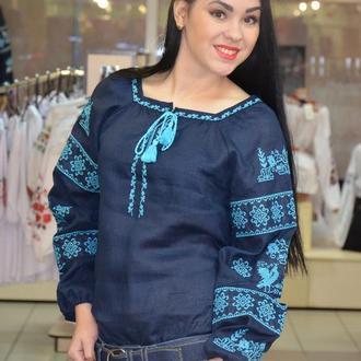 """Синяя женская вышиванка """"Птица"""", бирюзовая вышивка 52, Украина"""
