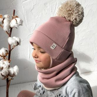 Зимова шапка з великим бубоном + снуд