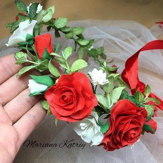 Вінок на голову, квітковий віночок, венок с цветами из фоамирана