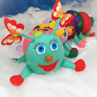 """Развивающая игрушка 🌞 """"ГУСЕНИЦА"""" для детей. Игрушка МОНТЕССОРИ .Тактильная игрушка из фетра"""
