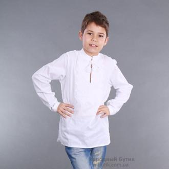 Детская вышиванка для мальчика белым по белому  размеры с 104 по 158р