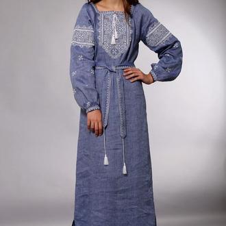 Длинное платье с вышивкой, лен джинсовый лен