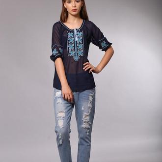 Синяя блуза вышиванка из шифона 46