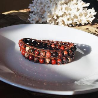 Кожаный браслет Chan Luu с яшмой