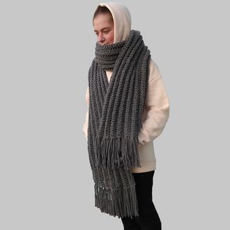 Длинный  вязаный зимний серый шарф. Мужской шарф. В'язаний чоловічий шарф. Жіночий шарф.Подарунок.