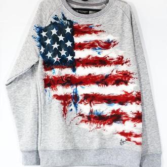 """Серый реглан с рисунком. """"Американский флаг"""""""