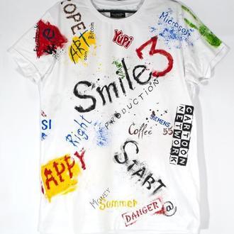 Белая футболка  с рисунком L