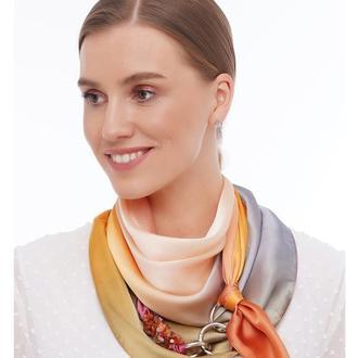 """Дизайнерский платок  """"Золотой  закат"""" от бренда my scarf, шейный платок, подарок женщине"""