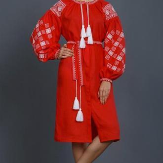 Красное платье - вышиванка для женщин