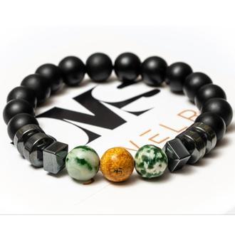 Чоловічий Браслет DMS Jewelry з шунгита, агату, яшми з дисками FREEDOM