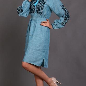 Вышитое женское платье Этно (цвет аква) 48