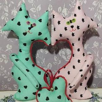 """Авторська робота, декоративна іграшка """"Неразлучні коти"""" в подарунок до Дня всіх закоханих"""