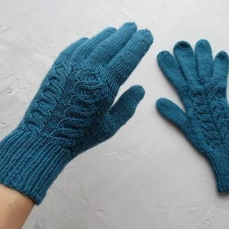 Перчатки вязаные цвета морской волны женские из шерсти. Теплые красивые рукавички на подарок девушке
