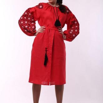 Платье - вышиванка Ясные зори, красный лен