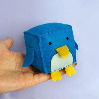 """Развивающая игрушка 🌞""""ПИНГВИН"""" для малышей /Кубик из фетра  для детей/Декор в детскую"""