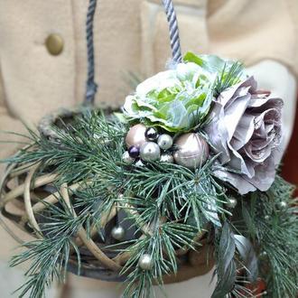 Підсвічник плетений новорічний декор